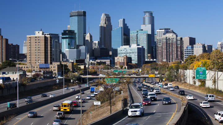 The Minneapolis skyline from interstate highway I-35W.