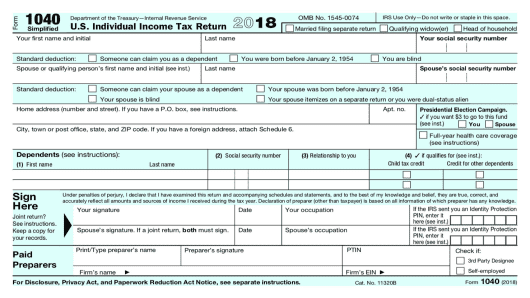 treasury irs announce postcard size form 1040 for next year