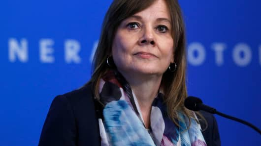 DETROIT, MI - JUNE 12: General Motors (GM) CEO Mary Barra speaks to the news media before the automobiile maker's annual meeting of shareholders at GM world headquarters June12, 2018 in Detroit, Michigan. (Photo by Bill Pugliano/Getty Images)