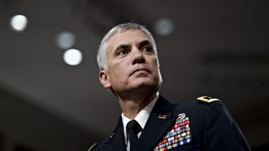 Paul Nakasone, director of the National Security Agency, arrives to a Senate Armed Services Committee confirmation hearing in Washington.