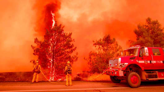A tree ignites as firefighters attempt to stop flames from the Pawnee fire from jumping across highway 20 near Clearlake Oaks, California on July 1, 2018.