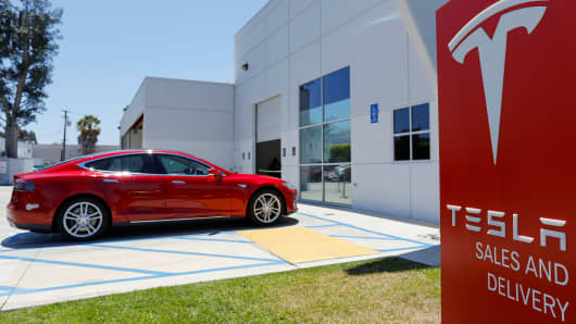 A Tesla Sales and Service Center will be shown on June 28, 2018 in Costa Mesa, California, USA.