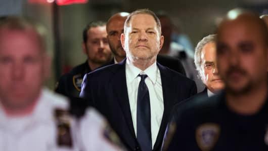 Hollywood film producer Harvey Weinstein enters Manhattan criminal court June 5, 2018 in New York.