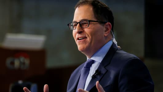 Dell CEO Michael Dell speaks during an interview with CNBC on the floor of the New York Stock Exchange, July 2, 2018