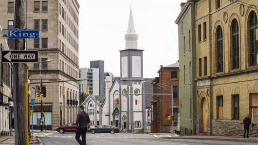 Downtown Utica is home to a large Bosnian Islamic population. The city has been a magnet for refugees for more than 40 years. They have helped keep the economy vibrant.