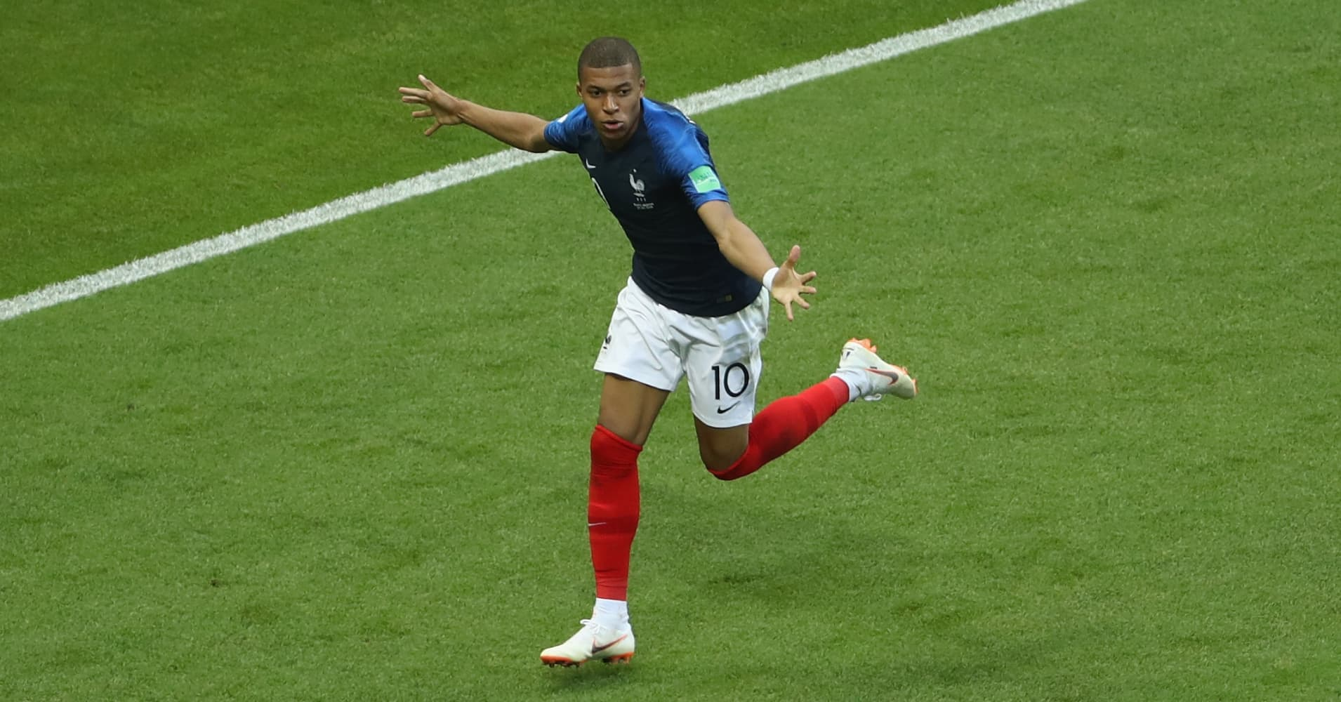 Kylian Mbappe of France celebrates after scoring his team's third goal during the 2018 FIFA World Cup Russia Round of 16 match between France and Argentina at Kazan Arena on June 30, 2018 in Kazan, Russia.
