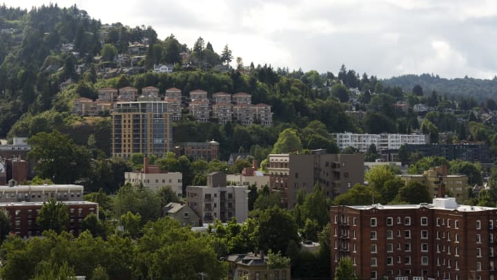 Fair-housing advocates worry about the number of Oregonians being priced out of the housing market. Here, a view of Nob Hill and Westover neighborhoods from West Burnside & 20th in Portland, Oregon.
