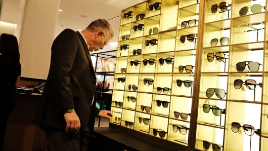 A man shops at the Nordstrom men's store in New York.