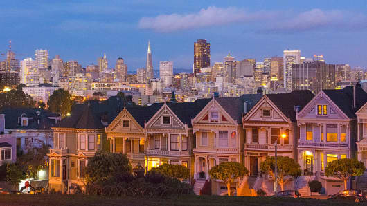 San Francisco's Painted Ladies Victorian homes.