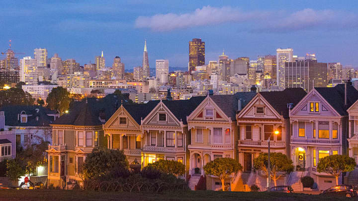 San Francisco's Painted Ladies Victorian homes. The average home price in this city is nearly $1.2 million.
