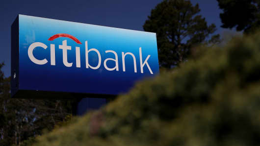A Citibank sign in front of one of the company's offices in California seen in April 2018