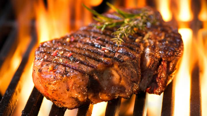 Beef steak on the grill
