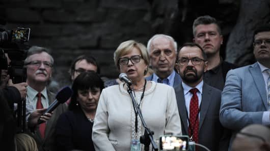 Malgorzata Gersdorf, the Chief Justice of the Polish Supreme Court speaks at a gathering of several thousand people in front of the Sad Najwyzszy, the Polish Supreme Court in Warsaw, Poland on July 3, 2018.