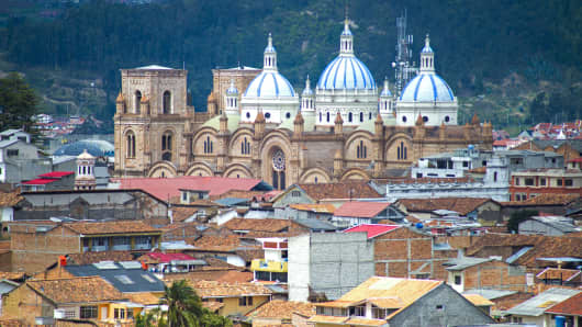 View of the Cuenca Cathedral, in middle of the city, in Cuenca, Ecuador.