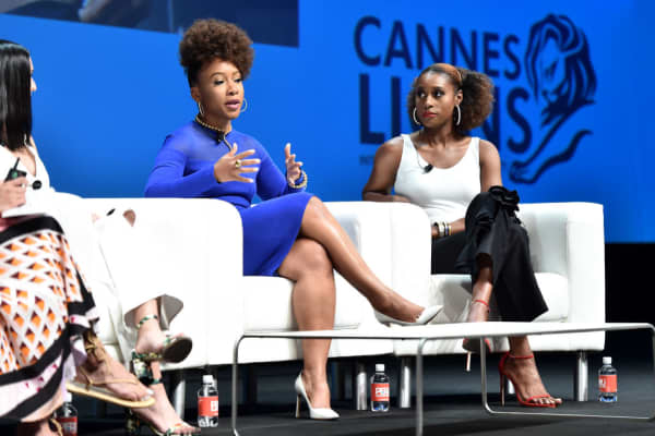 Coty executive Ukonwa Ojo (left) with actor and producer Issa Rae (right) at the Cannes Lions International Festival of Creativity in France, June 2018