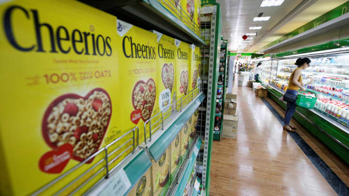 Cheerios cereal sold in a grocery store in Beijing.