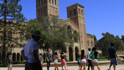 A view of Royce Hall on the campus of UCLA in Westwood, California.