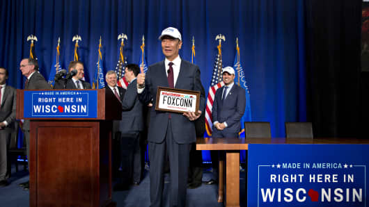 Terry Gou, chairman of Foxconn Technology Group, at an event in Racine, Wisconsin, on Nov. 10, 2017. In exchange for $4.5 billion in state and local tax incentives, the electronics giant is building a massive manufacturing campus in Mt. Pleasant, Wisconsin.
