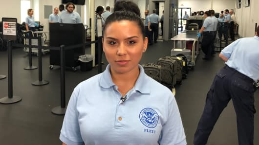 Valeria Garcia is a TSA officer in training, who participated in a training academy this summer in Glynco, GA.