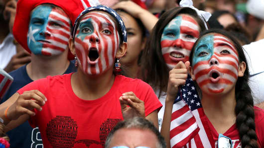 Soccer Fans Gather To Watch US Team's Knockout Stage Match Against Belgium