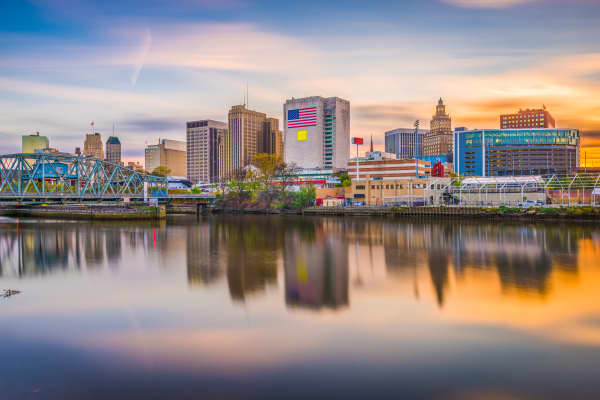 Newark, New Jersey, skyline on the Passaic River.