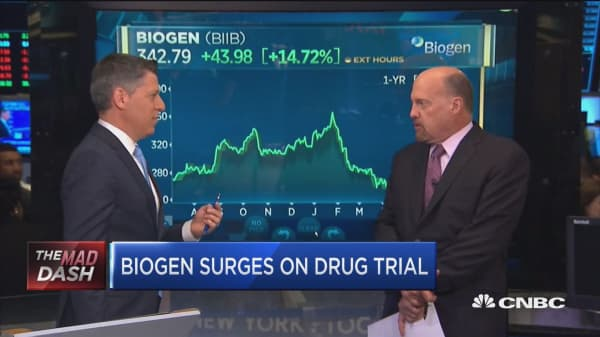 Biogen surges on drug trial