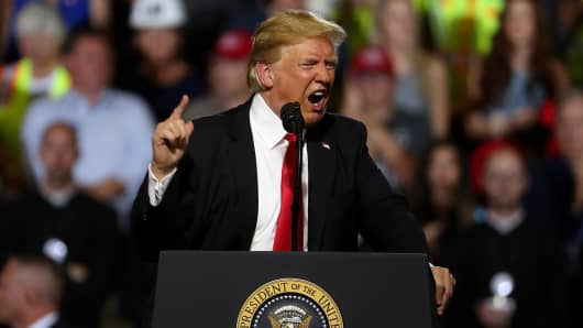 President Donald Trump speaks during a campaign rally at Four Seasons Arena on July 5, 2018 in Great Falls, Montana.