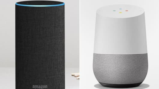 The Amazon Echo, left, and Google Home
