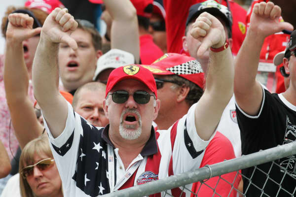 Fans show their anger after the 2005 U.S. Grand Prix F1 race in Indianapolis.
