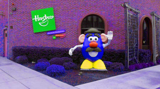 A statue of Mr. Potato Head greets visitors to the corporate headquarters of toymaker Hasbro Inc. in Pawtucket, Rhode Island.