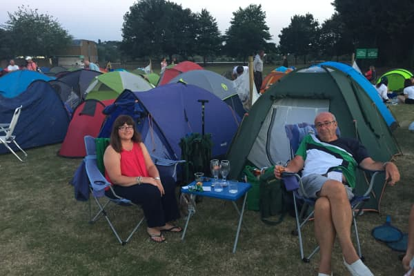 Our tent neighbors, John and his daughter Charlie, have been queuing up for more than two decades