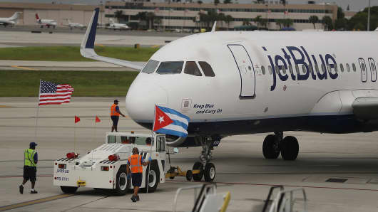 JetBlue Flight 387 pushes back from the gate as it prepares for take off to become the first scheduled commercial flight to Cuba since 1961 on August 31, 2016 in Fort Lauderdale, Florida.