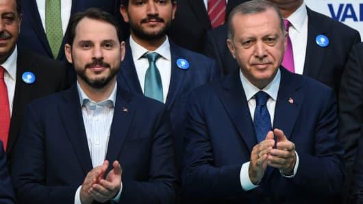 Turkish President Recep Tayyip Erdogan (R) poses with Beraat Albayrak on May 29, 2018 in Istanbul.