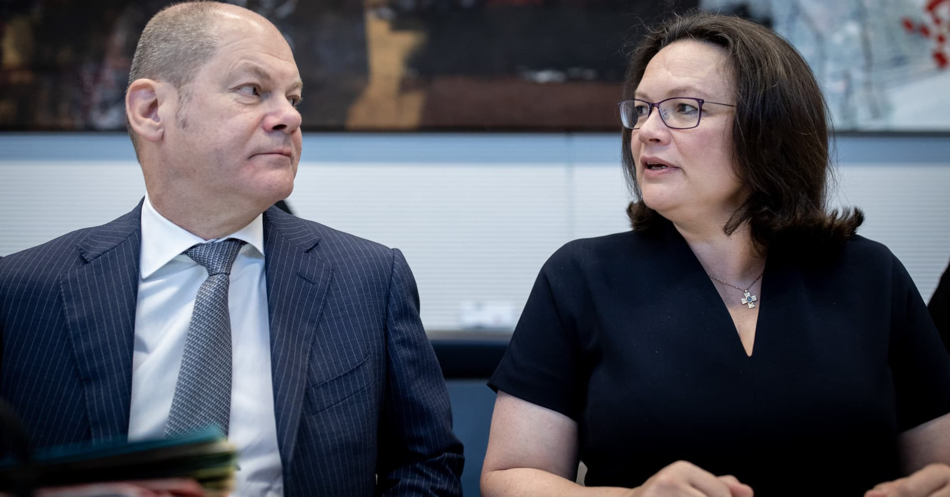 German Finance Minister Olaf Scholz of the Social Democratic Party (SPD) and SPD Faction Leader Andrea Nahles attend a session of the SPD's Bundestag faction on the topic of recent developments in the asylum debate.