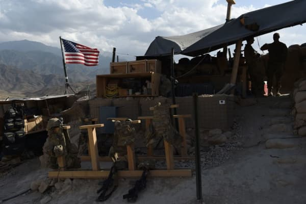 U.S. Army soldiers from NATO at a checkpoint during a patrol against Islamic State militants at the Deh Bala district in the eastern province of Nangarhar Province.