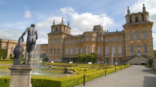 Woodstock, United Kingdom - May 17, 2015: Upper water terrace of Blenheim Palace