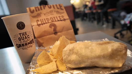 Food is served at a Chipotle restaurant on in Chicago, Illinois.