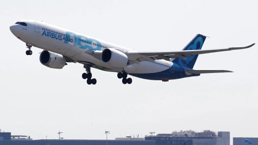An Airbus A330neo commercial passenger aircraft takes off in Colomiers near Toulouse, France, July 10, 2018