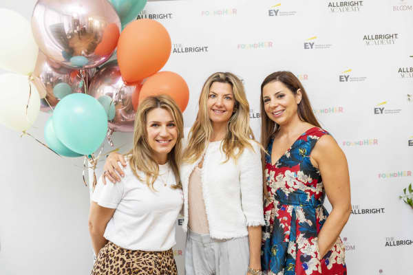 Neom Organics founder Nicola Elliott (L), FaceGym founder Inge Theron (M) and AllBright Co-founder Debbie Wosskow OBE (R) at the 2018 AllBright FoundHER Festival in London.