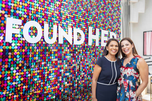 SCM Direct founder & Transparency Campaigner Gina Miller (L) and AllBright Co-founder Debbie Wosskow OBE (R) at the 2018 AllBright FoundHER Festival in London.