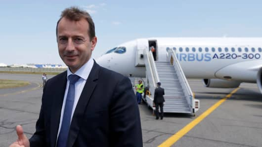 Airbus Commercial Aircraft President Guillaume Faury poses during the unveiling of an Airbus A220-300 aircraft after ist landing in Colomiers near Toulouse, France, July 10, 2018.