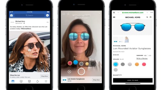 Michael Kors let Facebook users try on its new sunglasses via augmented reality.
