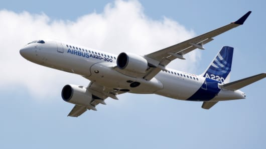 An Airbus A220-300 aircraft, a new brand for the CSeries passenger jet acquired from Canada's Bombardier, flies during its unveiling in Colomiers near Toulouse, France, July 10, 2018.