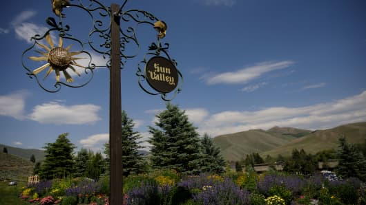 Signage stands at the entrance of the Sun Valley Lodge in Sun Valley, Idaho.
