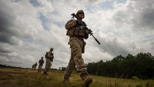 U.S. Marines conduct a patrol during a training exercise on July 21, 2014.