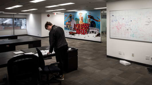 An office of Istuary Innovation Group, a Vancouver-based tech startup that stopped paying employees in May 2017 and has since closed its offices, in Vancouver, British Columbia, Canada Dec. 16, 2017.