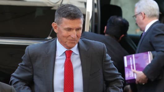 Michael Flynn, former national security advisor to President Donald Trump, arrives at the E. Barrett Prettyman Federal Courthouse for a status hearing July 10, 2018 in Washington, DC.