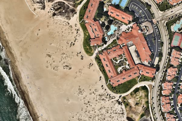Aerial view, sand, California, carpark, City, Cityscape, geometry shapes, Oxnard, Outdoors, Overhead View, Photography, USA, waves, beach, parking, cars