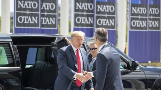 Leaders from NATO member and partner states are meeting for a two-day summit, which is being overshadowed by strong demands by U.S. President Trump for most NATO member countries to spend more on defense.