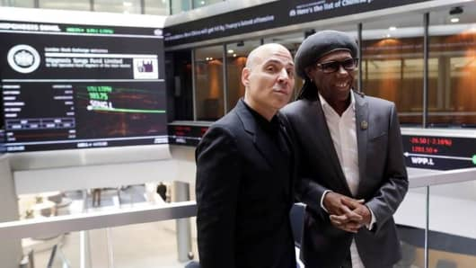 Founder of Hipgnosis, Merck Mercuriades (L) with board adviser and musician Nile Rodgers at the London Stock Exchange on 11th July 2018.